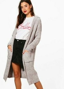 Sweaters - Gray cable knit chenille hooded cardigan